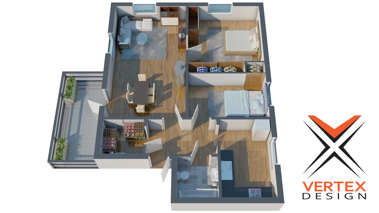 3d Floor Plan Modeling And Rendering By Vertex Design