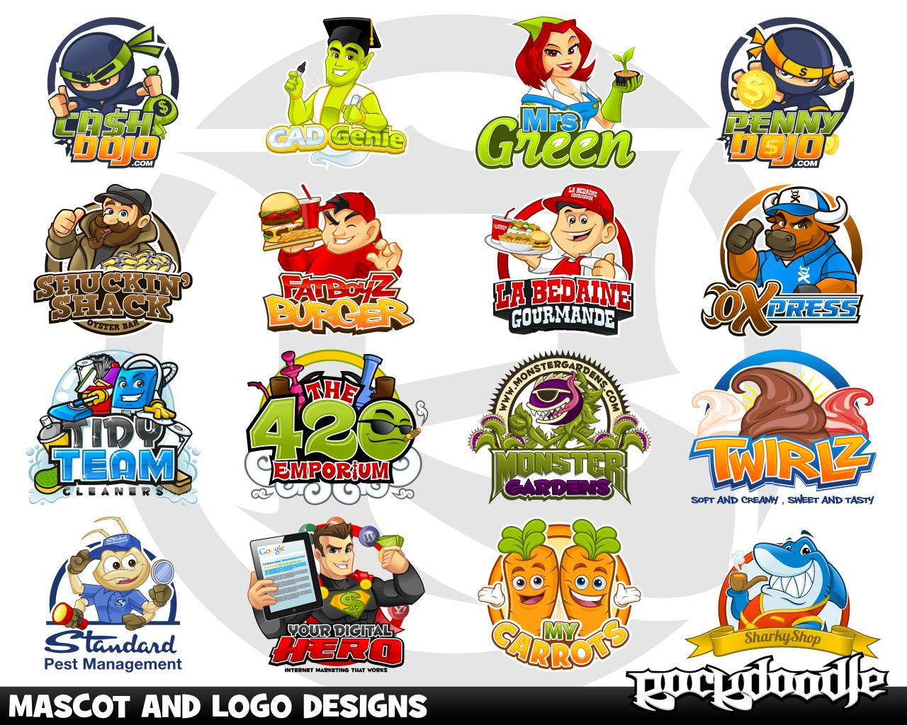 Character Design Logo : Mascot and logo designs by rockdoodle on envato studio