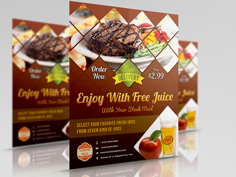 restaurant and cafe flyer template by owpictures on envato studio