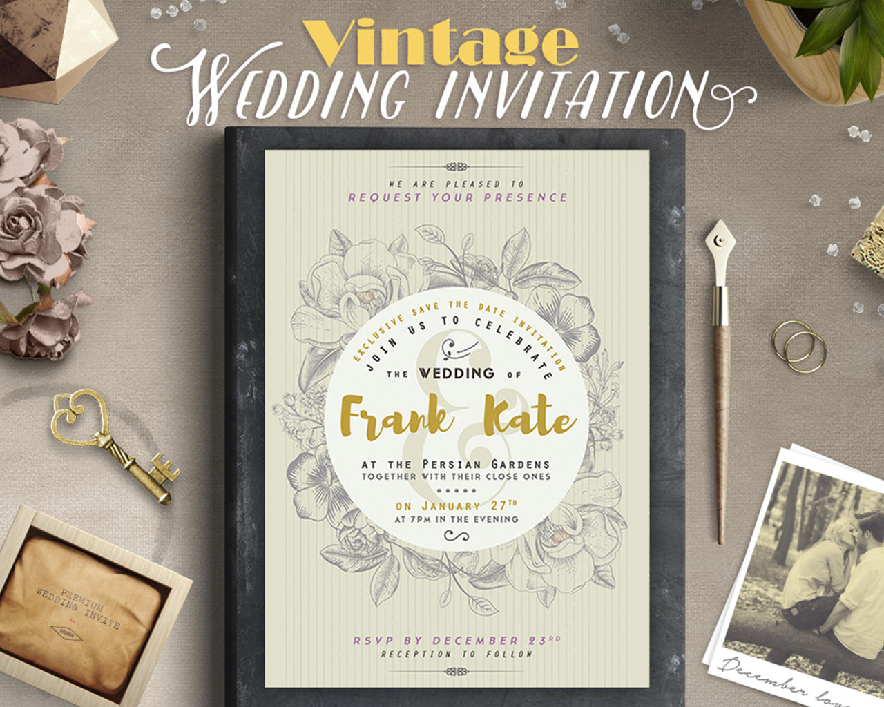 Invitation design services on envato studio retro vintage style wedding invitation design stopboris Choice Image
