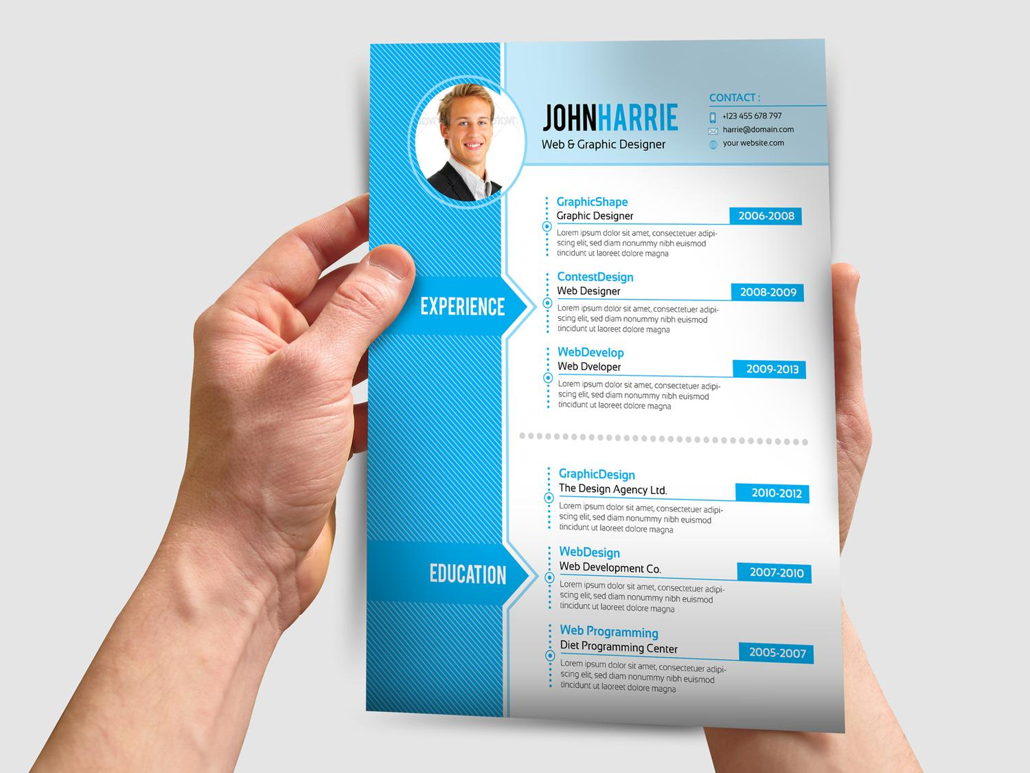 4 Pages Professional Resume Cv Design By Contestdesign