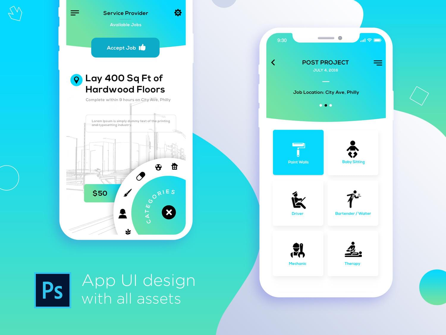 Mobile App interface for iOS and Android design by idesignera - 113428