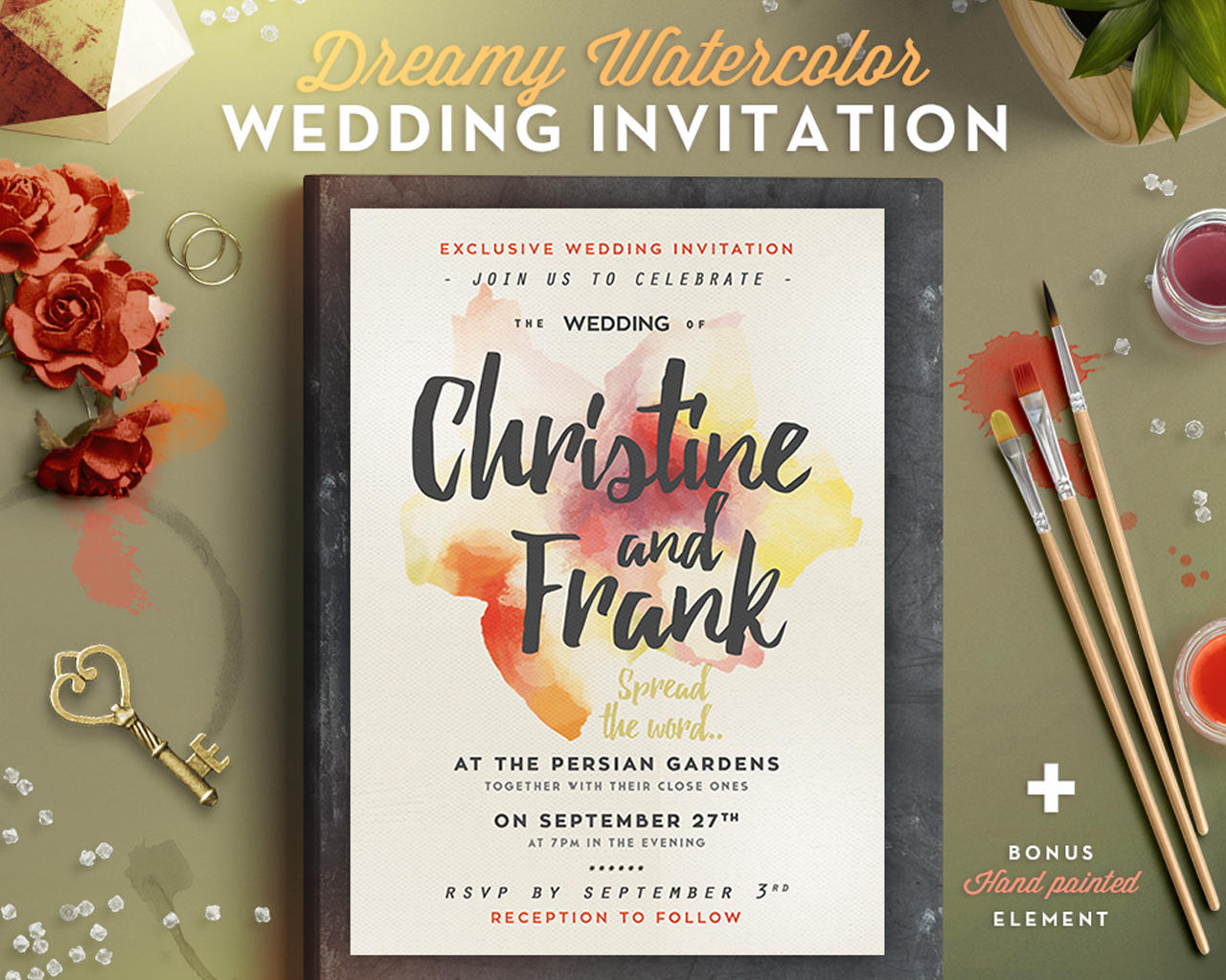 Watercolor wedding invitation design by lavie1blonde on envato studio watercolor wedding invitation design stopboris Image collections