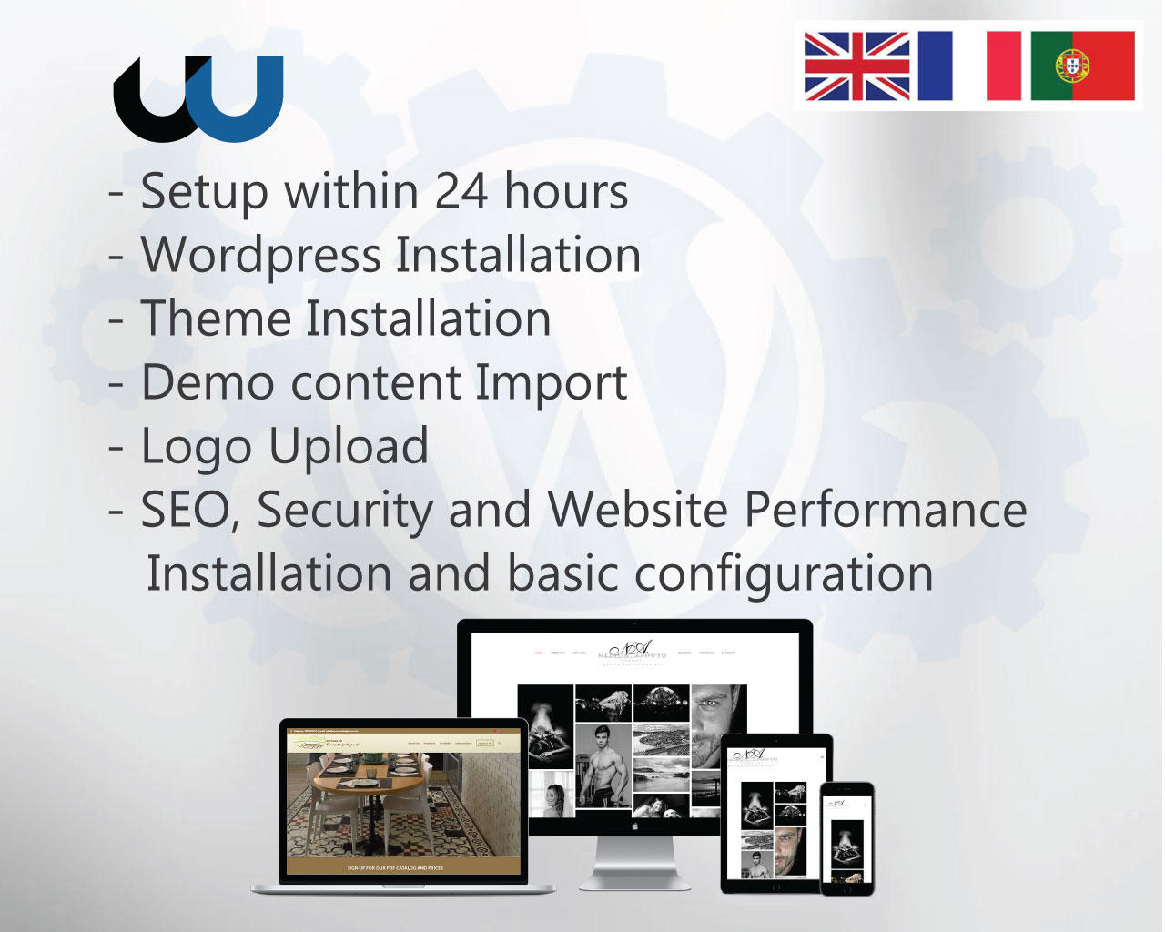 WP + Theme Setup + Demo + SEO, Security, Performance Plugins by johnnyborga - 108915