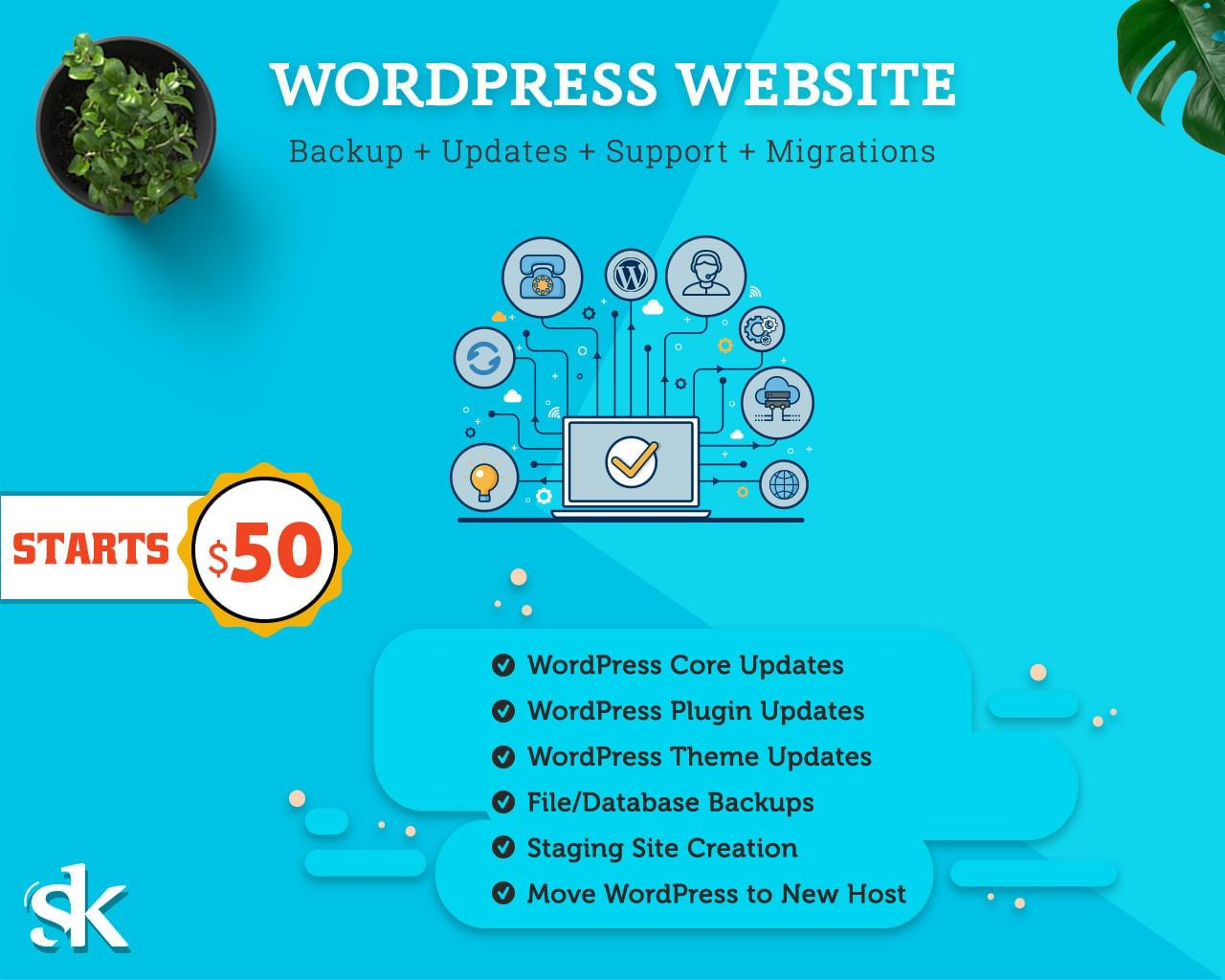 WordPress Website Backup + Updates + Support + Migrations by SK-Web-Solutions - 112983