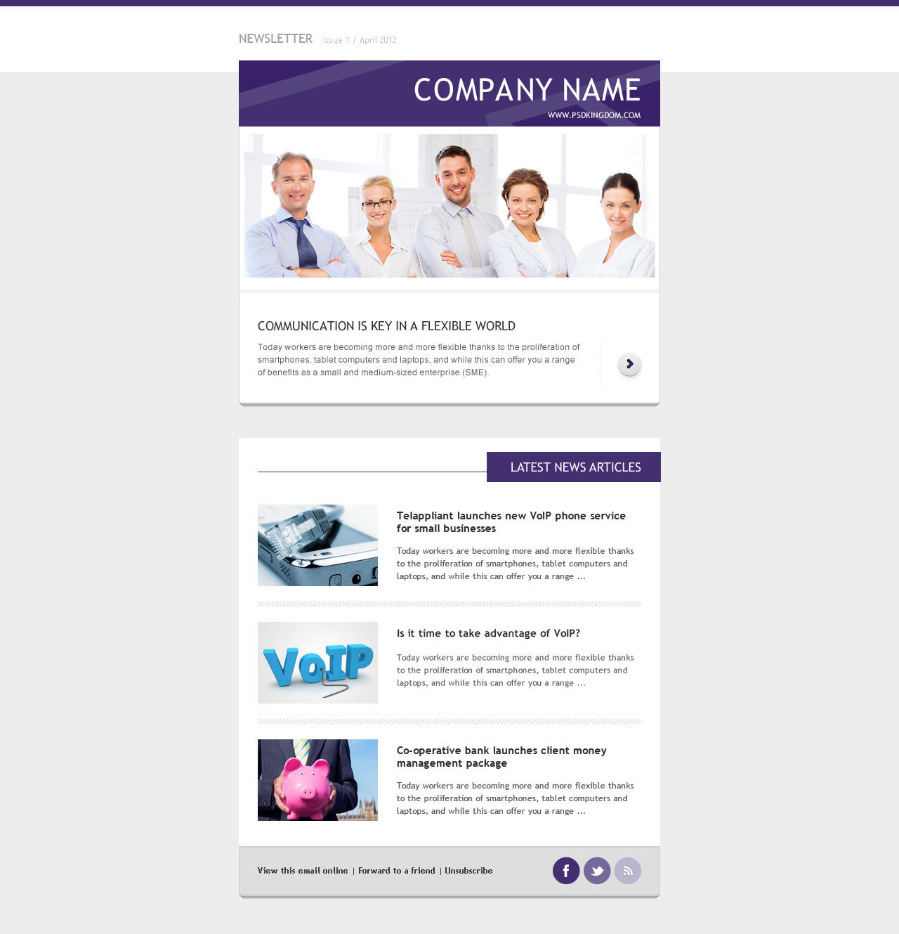 Clean and modern e newsletter design photoshop visual by for Modern newsletter design