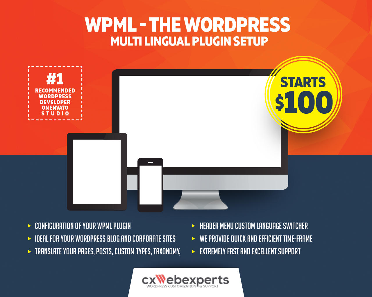 WPML Setup, Lanquage Switcher, WordPress Customization, The WordPress Multi Lingual Plugin Setup, Ch by CXWebExperts - 108185