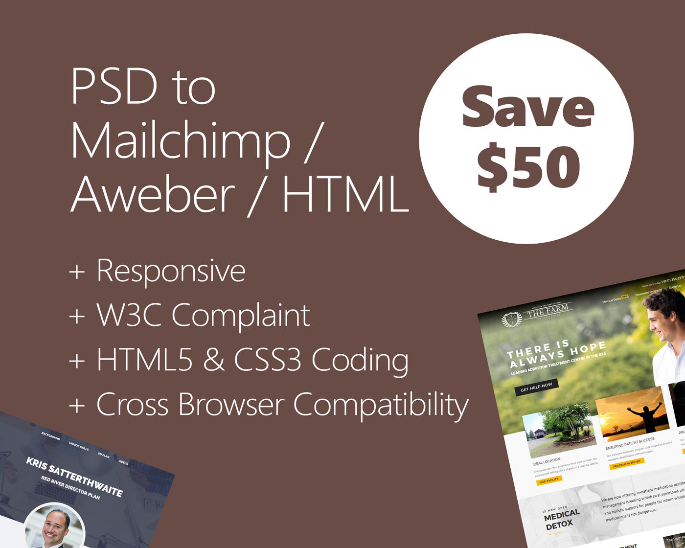 PSD to Aweber, Mailchimp or HTML Email by hasanet - 109941