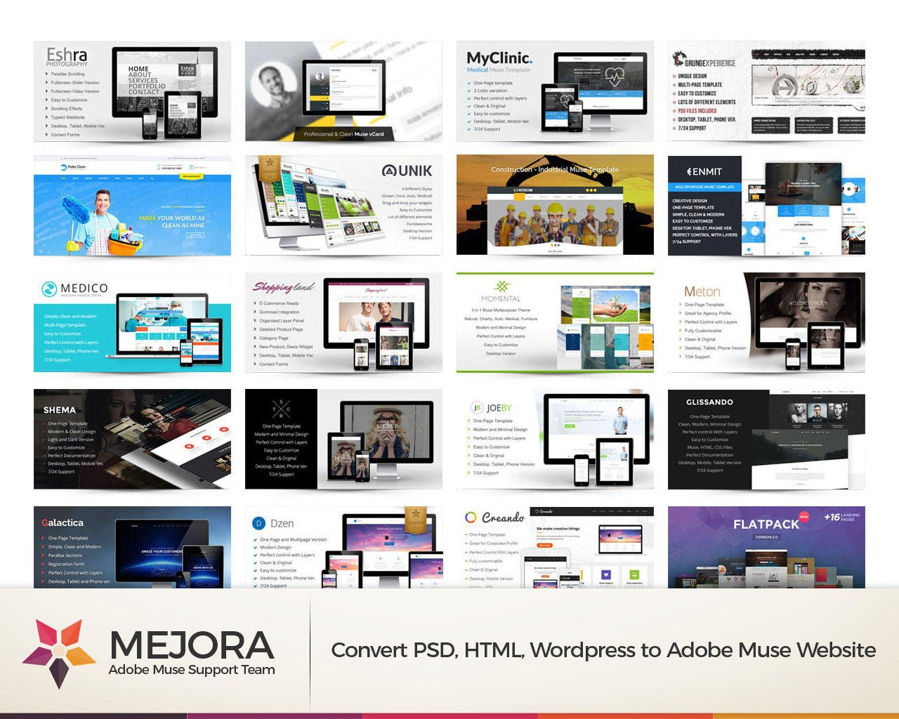 Convert PSD, HTML, Wordpress to Adobe Muse Website by Mejora - 109470