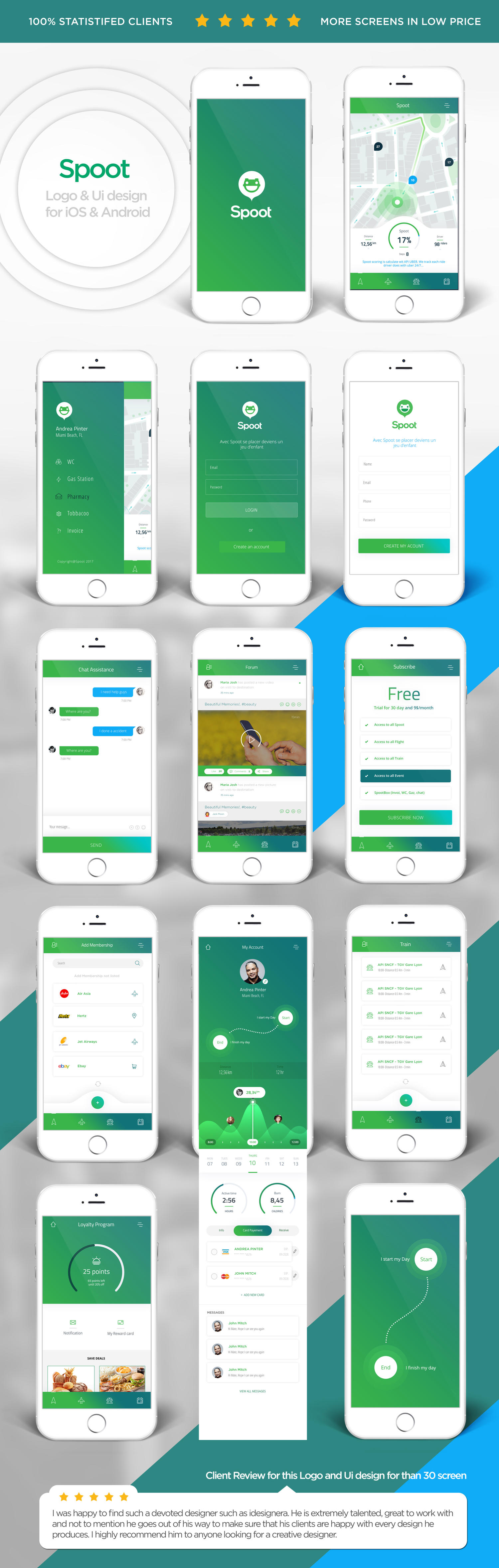 Mobile App interface for iOS and Android design by idesignera - 110039