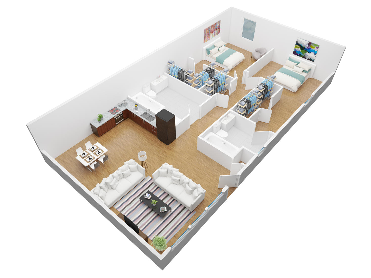 3d floor plan modeling and rendering by vertex design on for Plans en 3d