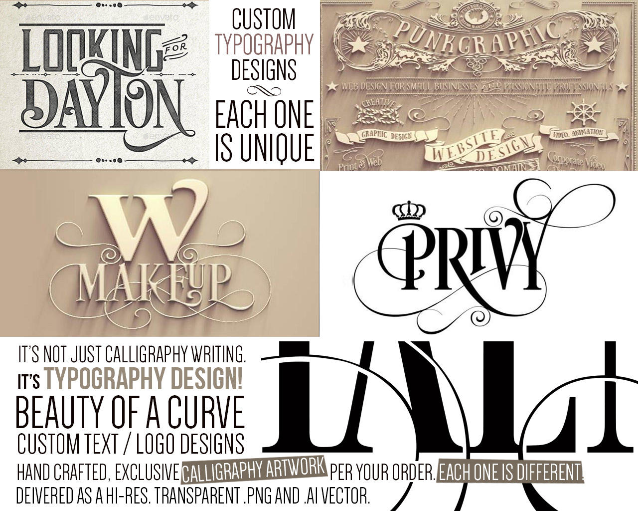 Custom Calligraphy Typography Design With Graphic Elements