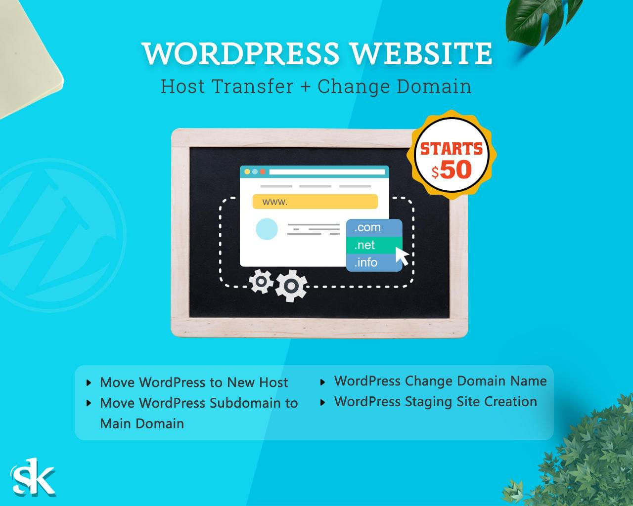 WordPress Website Host Transfer + Change Domain by SK-Web-Solutions - 113008