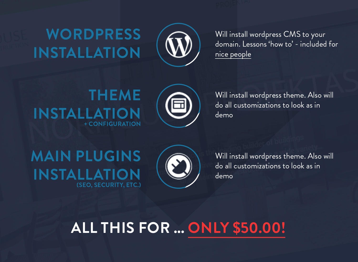 Wordpress CMS + Theme + Plugins Installation (with your content) by baranmod - 82756
