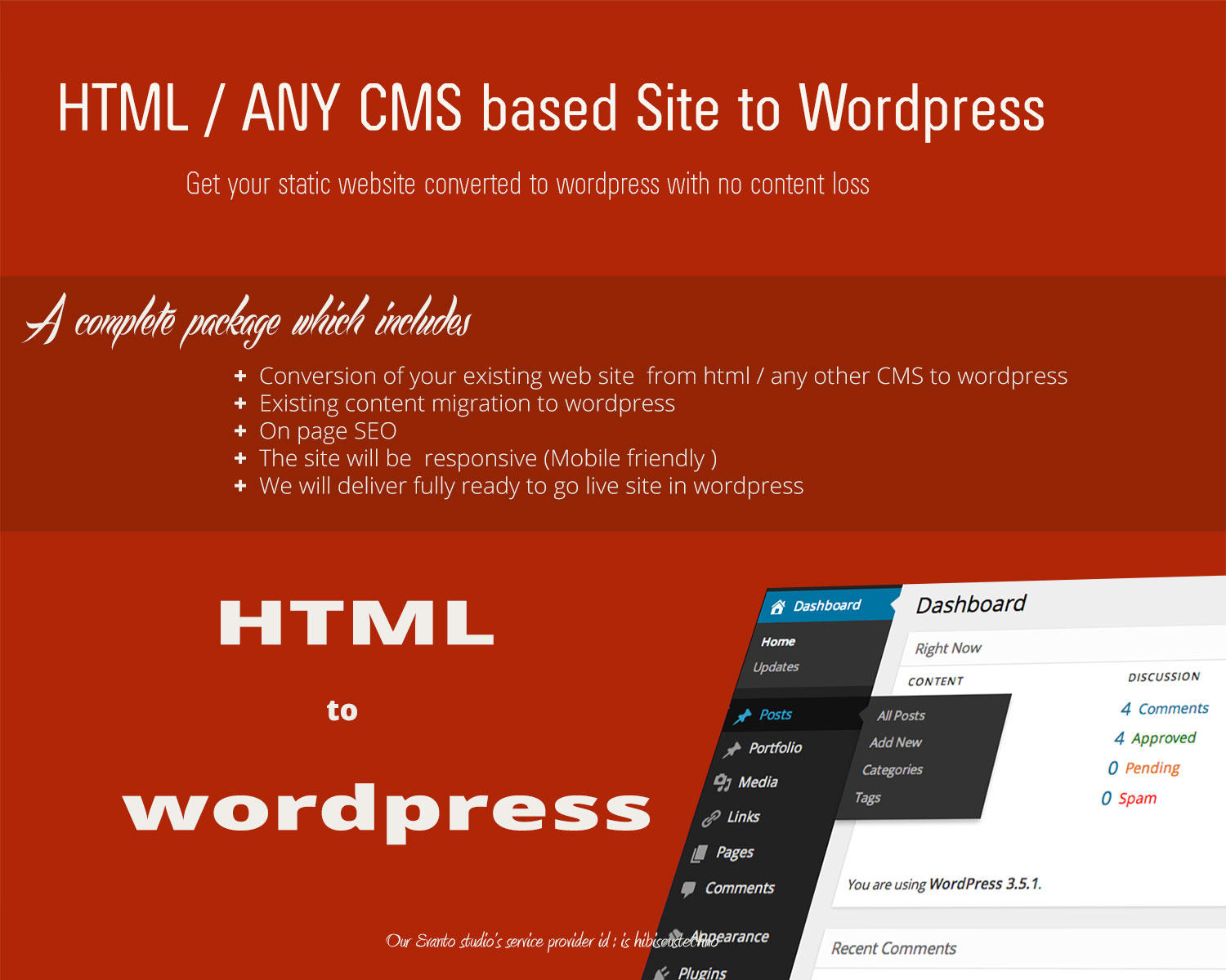 Convert HTML / CMS  website to WordPress (Mobile friendly site) by hibiscustechno - 83462