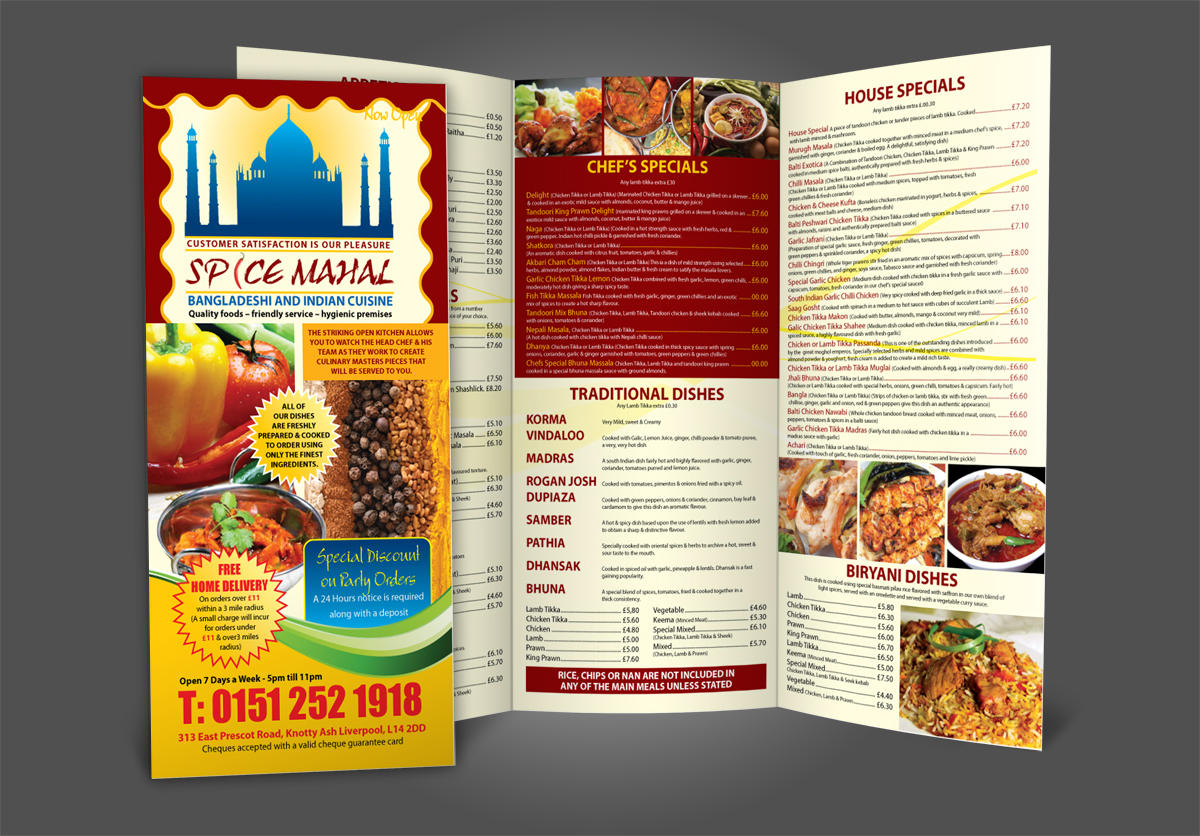 restaurant menu design a4 bi fold tri fold by fk designz on