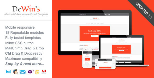 High Quality PSD to Responsive HTML Email by saputrad - 15284
