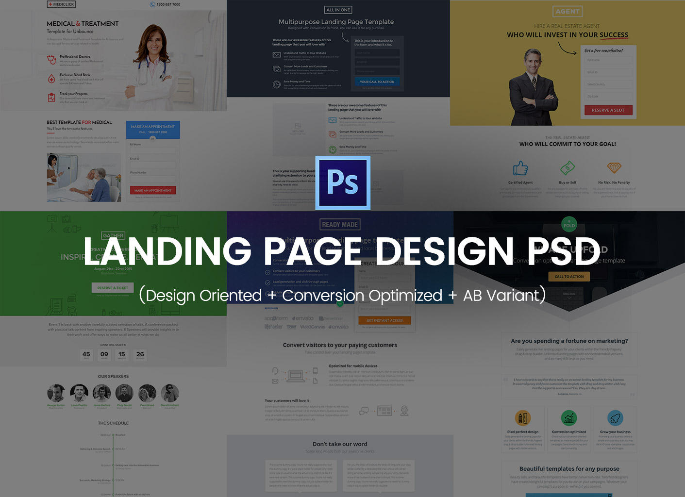 Landing Page Design PSD (Design Oriented + Conversion Optimized + AB Variant) by surjithctly - 95074
