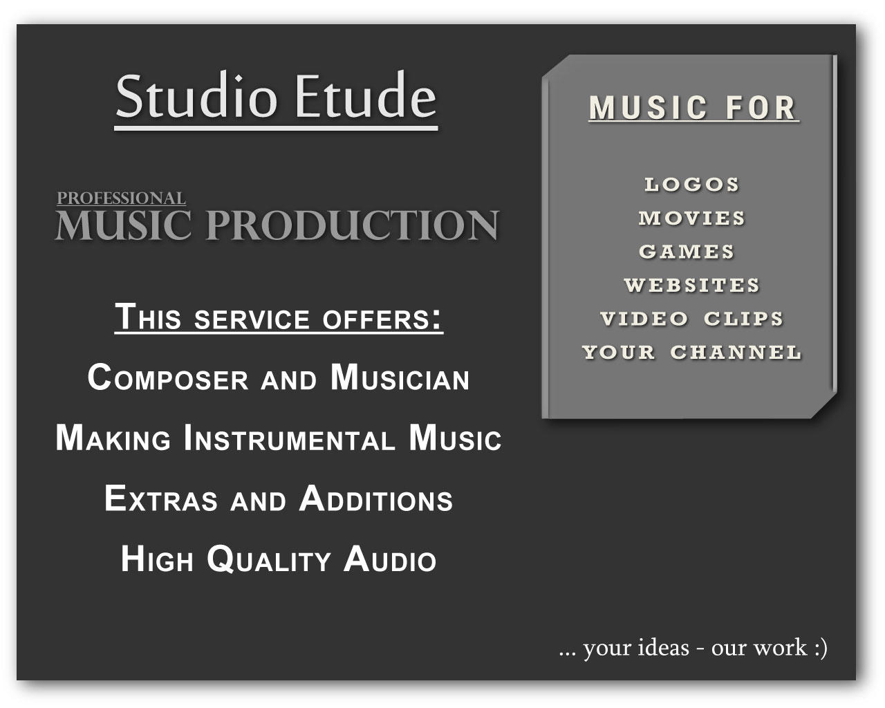 Custom Music Production  (Up 3 Minutes ) by StudioEtude - 96559