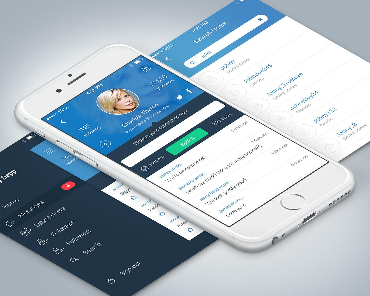 High end mobile application ui design ios android by for Mobel design