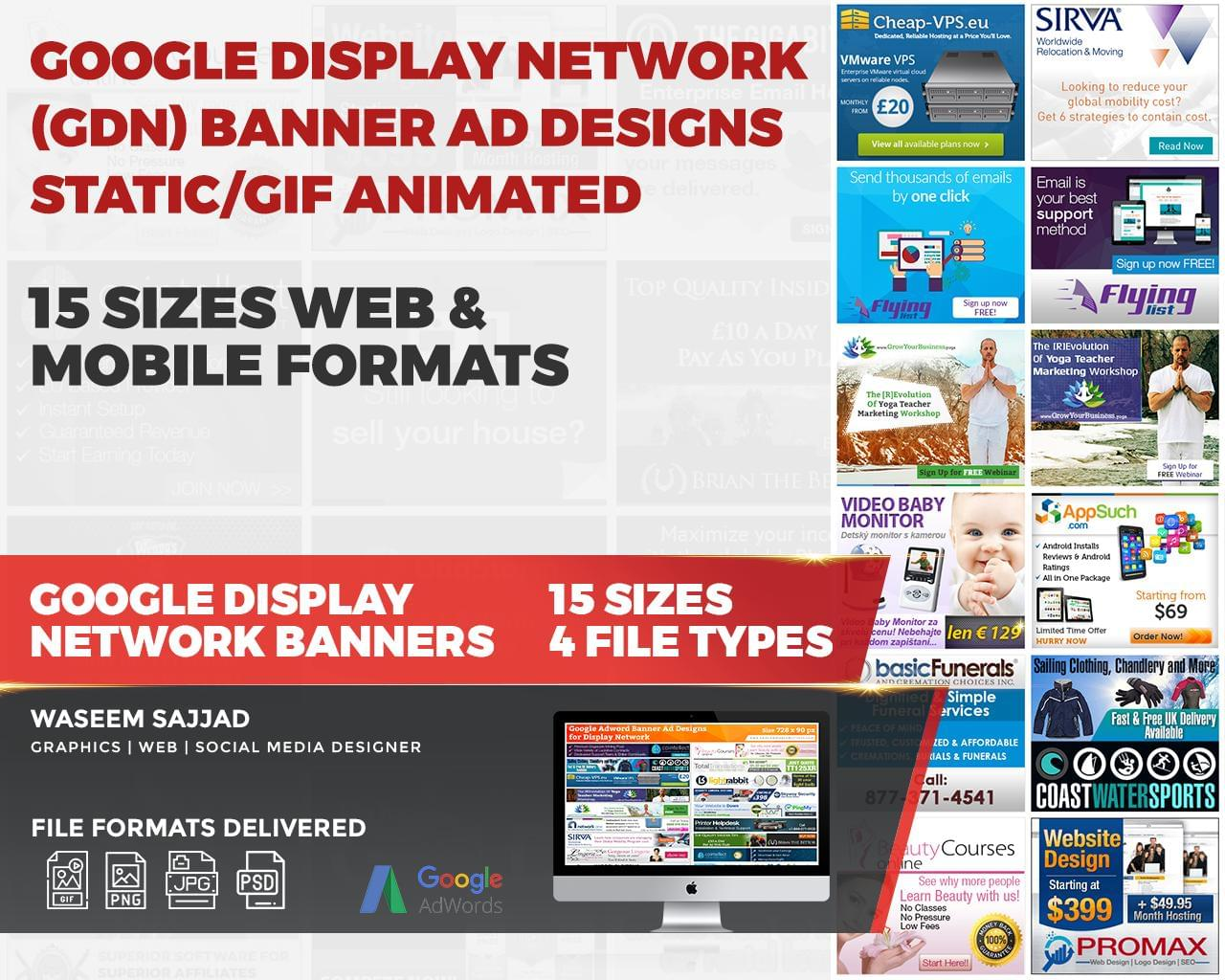 Google Display Network (GDN) Banner Ad designs Static/GIF Animated 15 Sizes Web & Mobile Formats by smproduction - 114833