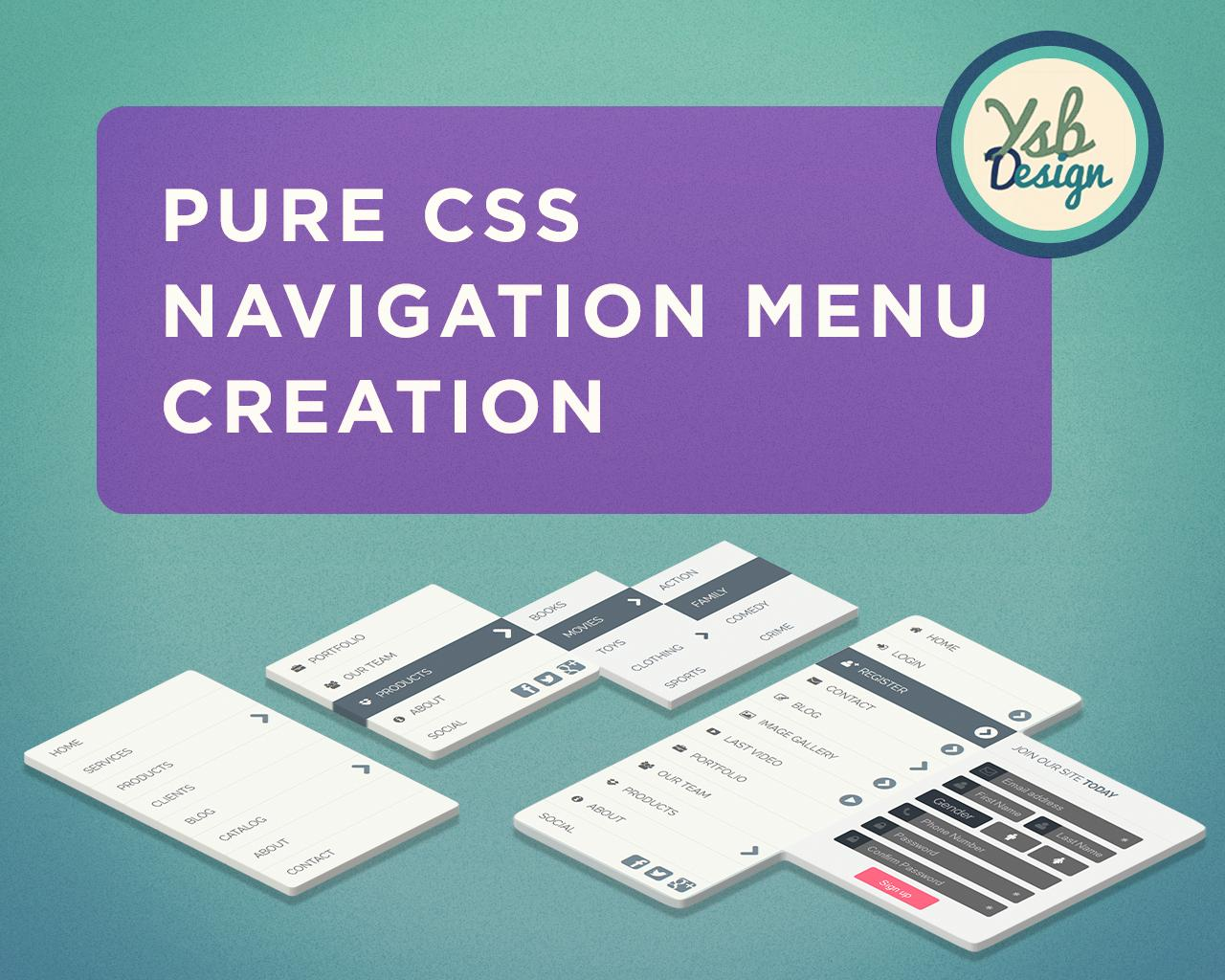 Pure CSS Navigation Menu Creation by YSB - 103269