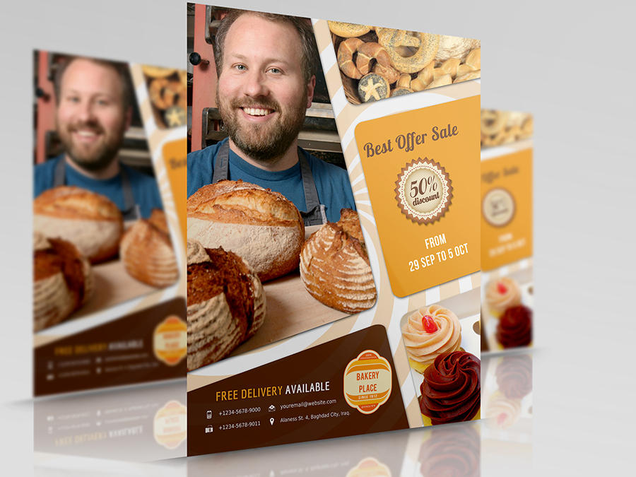 Sweet Cake And Bakery Flyer Template By OWPictures On Envato Studio - Bakery brochure template free