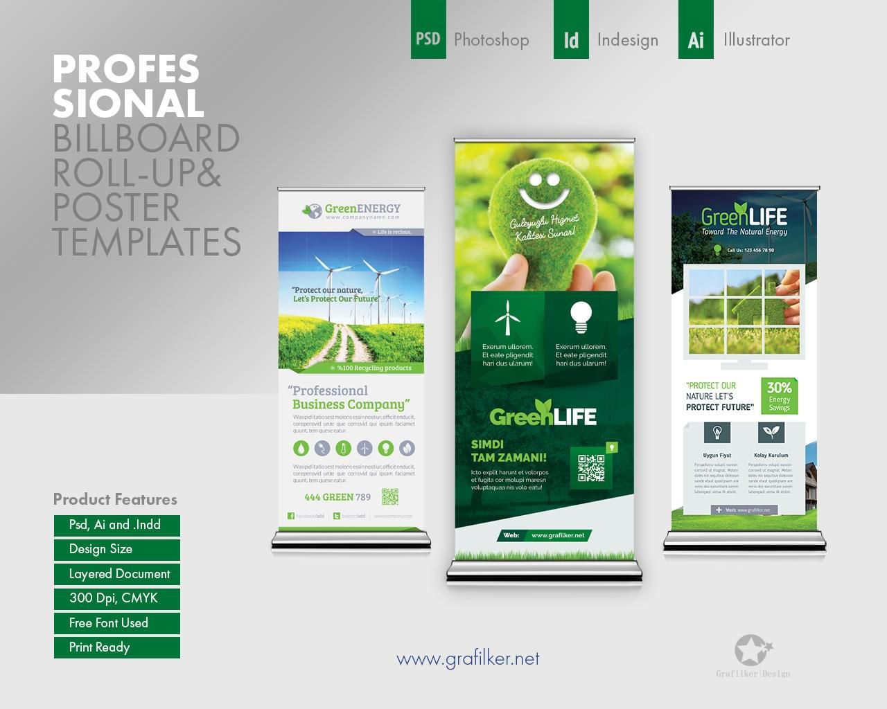 Professional Billboard Roll-Up Templates by grafilker - 112074