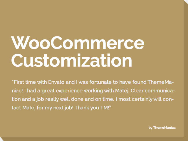 WooCommerce Customization and Integration to Existing Website.  by ThemeManiac - 54185