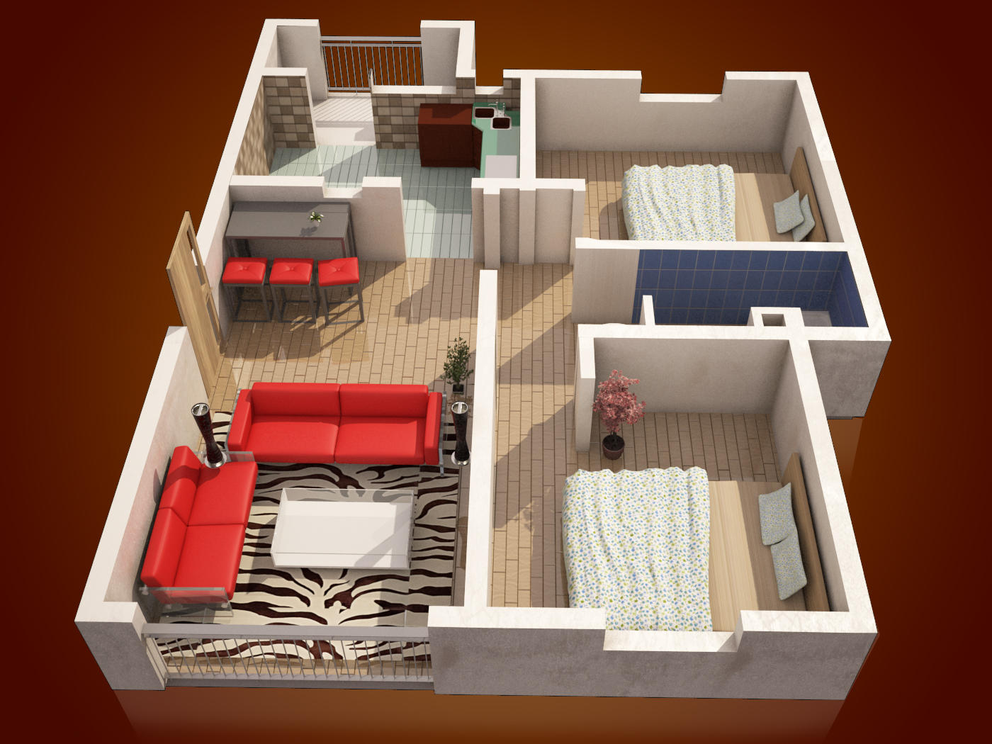 3D Floor Plan Rendering By Gesora On Envato Studio