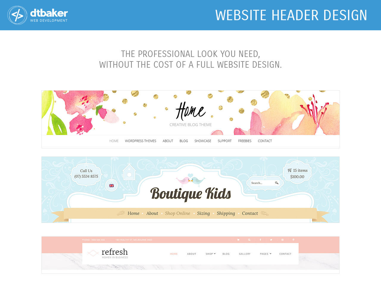 Website Header Graphic Design by dtbaker - 106154
