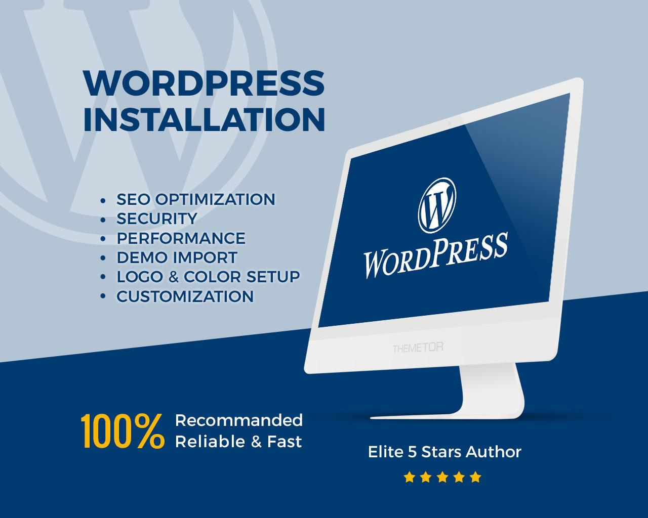 WordPress Theme Installation & Demo Setup (Logo & Plugins & SEO & Security & Performance) by ThemeTor - 113055