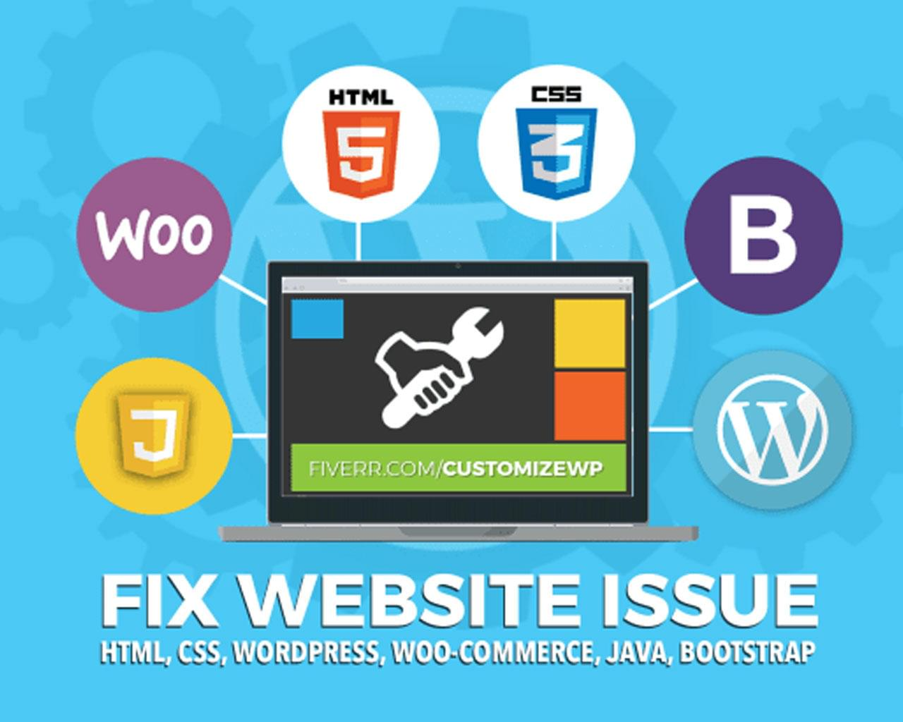 WordPress, Woocommerce, Html, Css bug Fixes and customization by Greatkhanjoy - 115456