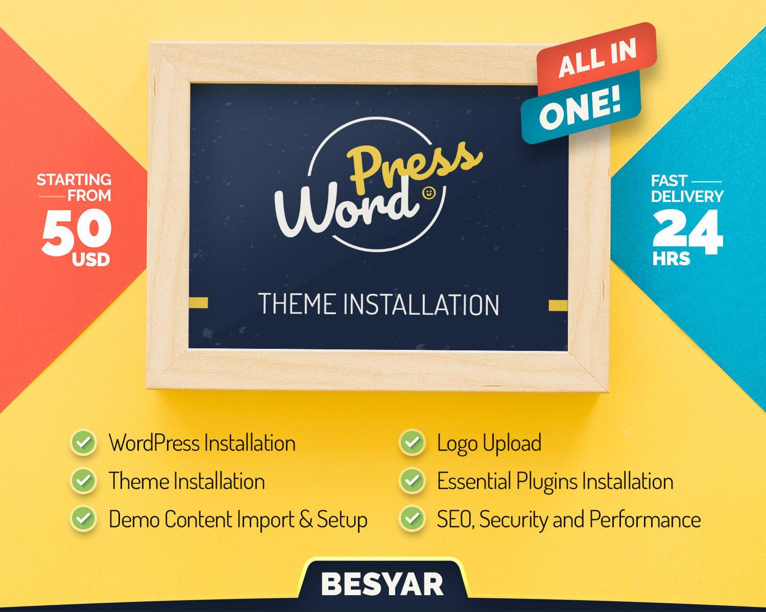 WordPress All-In-One Service - Theme Setup, SEO, Security and Performance Plugins Installation by Besyar - 111190