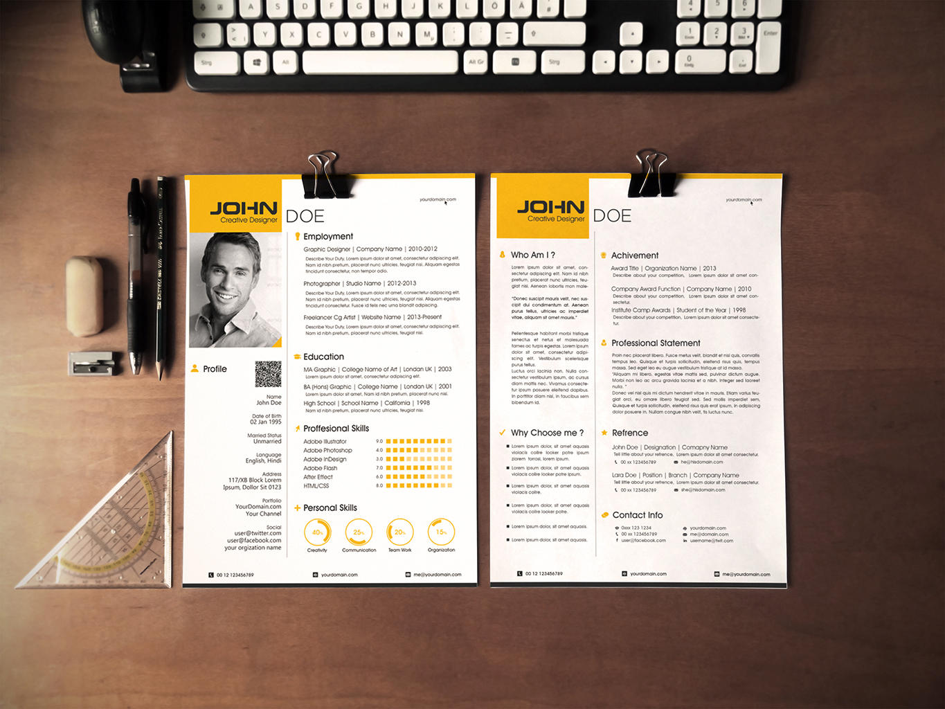 professional resume    cv design by vicasso on envato studio